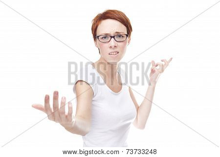 Young Aggressive Woman On White Background / Quarrel