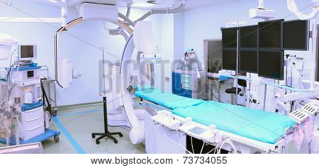 Operating Room With Advanced Equipment. Interventional, Arrhythmology Operating Room.
