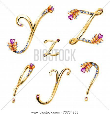 Bronze Alphabet With Colored Gems Letters Y, Z And Signs