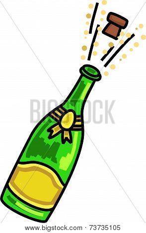 Popping Champagne Celebration Cartoon