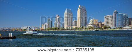 Downtown San Diego City Panorama, California USA