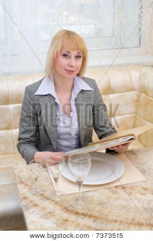 Blonde Woman At Restaurant