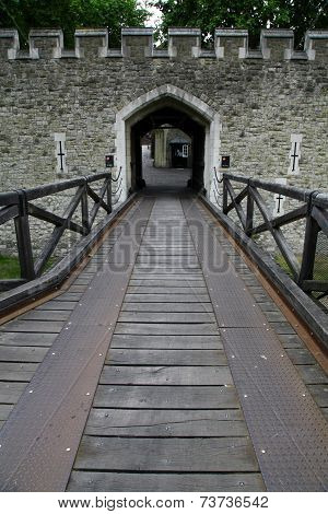 Castle gate and rock wall