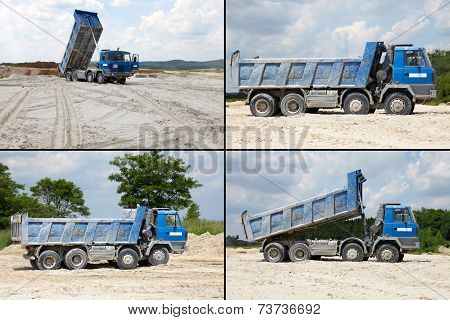 Freight trucks with dump body, postcard
