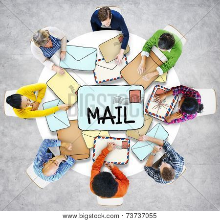 Multiethnic Group of People with Mail Concept