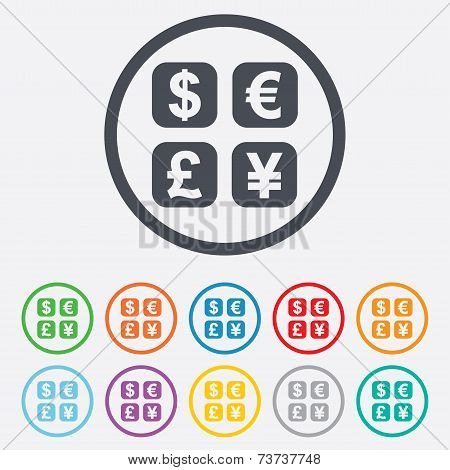 Currency exchange sign icon. Currency converter