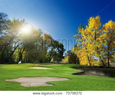 Autumn Landscape. golf course in the early autumn