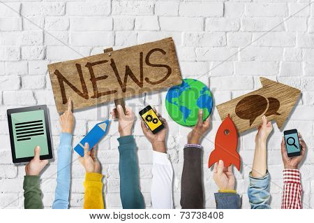 Hands Holding Group of Icons with News Concepts