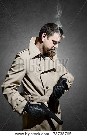 Killer Standing On Dark Background Waiting Time To Kill