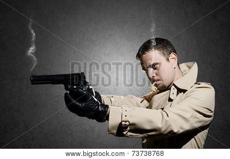 Killer Standing On Dark Background After Shooting