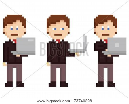 vector pixel art set - person holding laptop