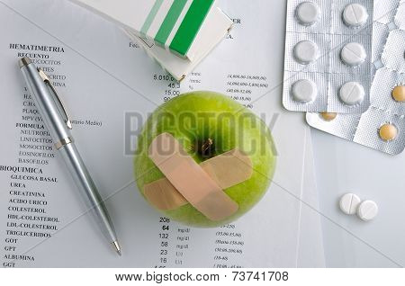 Results Of Analysis And Prescription Drugs Top View