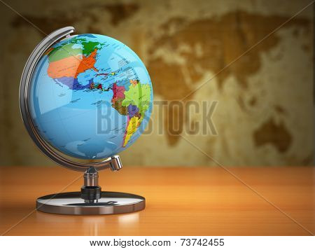 Globe  with a political map on vintage background. 3d