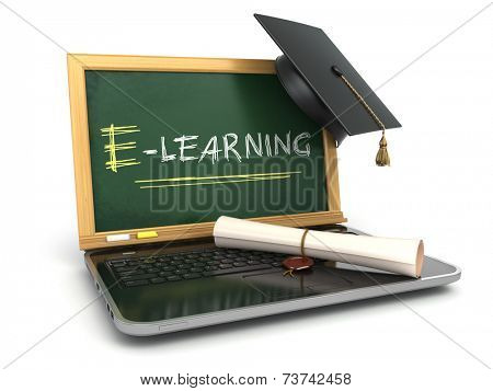 E-laerning education concept. Laptop with chalkboard, mortar board and diploma. 3d