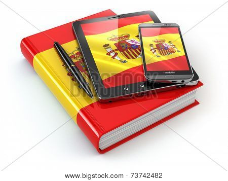 Spanish learning. Mobile devices, smartphone, tablet pc and book . 3d