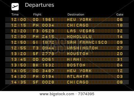 Destinations timetable