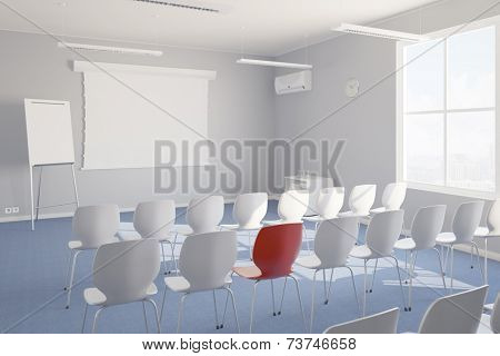 Individual training in seminar room with whiteboard and chairs