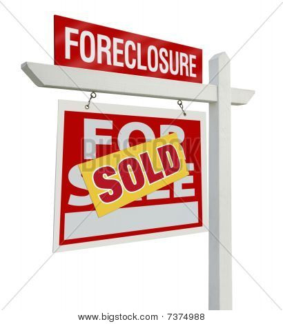 Sold Foreclosure Real Estate Sign Isolated - Left
