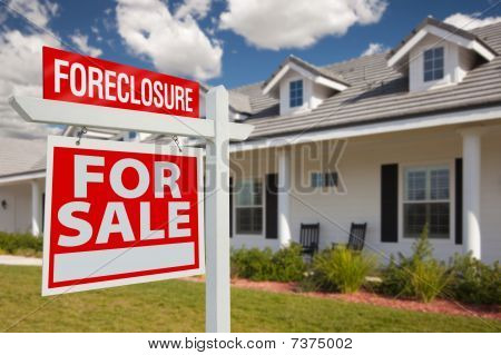Foreclosure Real Estate Sign And House - Left