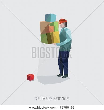 Delivery service by overloaded courier. Vector illustration.