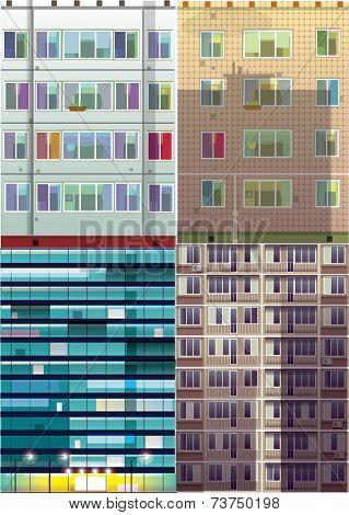 Set of the building facade.