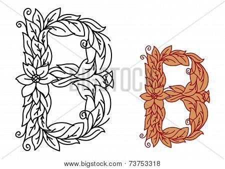 Letter B in floral and foliate font