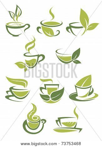 Collection of green or organic tea icons