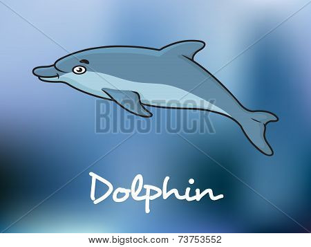 Cute cartoon dolphin in ocean water
