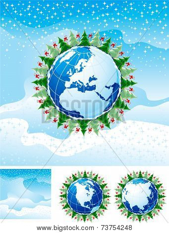 christmas trees and Candy-Canes anb globe