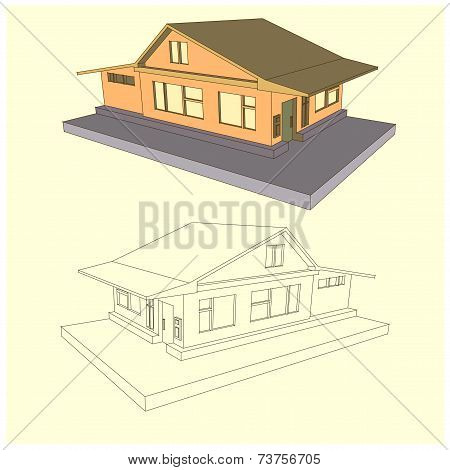 Country Cottage In Two Kinds Style 3D