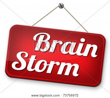 Brainstorm teamwork to creative fresh idea or solution team brain storming search innovation and inspiration road sign