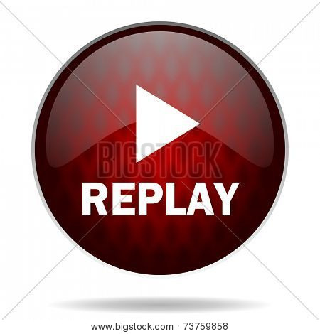 replay red glossy web icon on white background