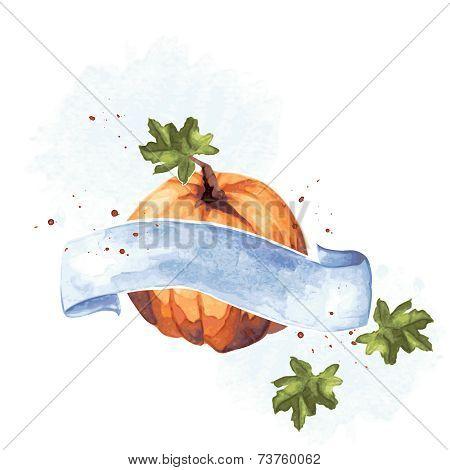 Colorful watercolor pumpkin illustration