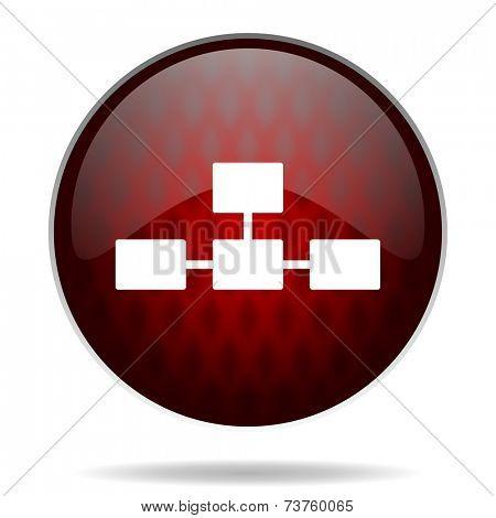 database red glossy web icon on white background
