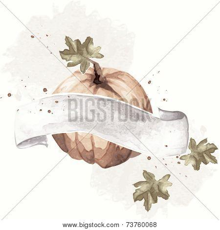 Sepia watercolor pumpkin illustration