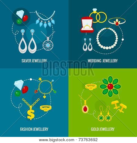 Jewelry icon flat set