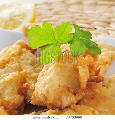 closeup of a plate with battered and fried hake