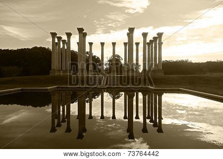 National Capitol Columns reflection in the pool in arboretum.