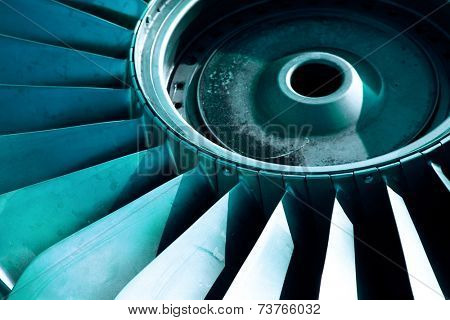 Detail of an old airplane jet engine