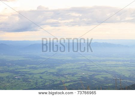 green mountains and forest on top veiw