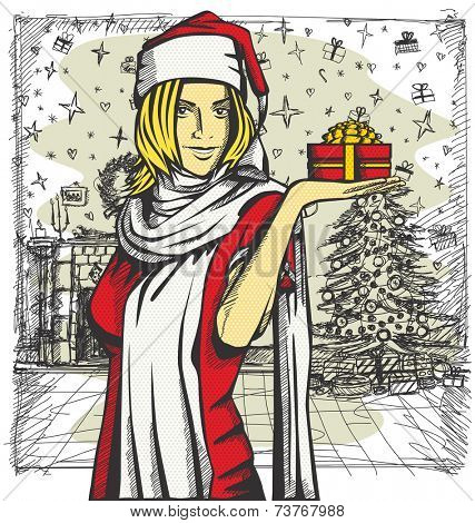 Vector Woman with gift in her hand waiting for Christmas