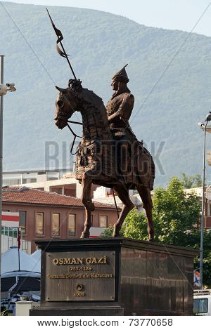 Statue of Osman Gazi in Bursa Turkey