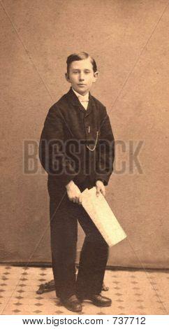 vintage 1879 photo of a boy