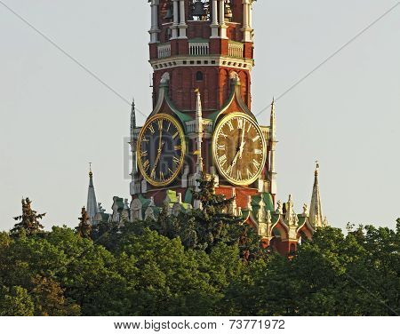Tower Clock On The Red Square Clock Tower