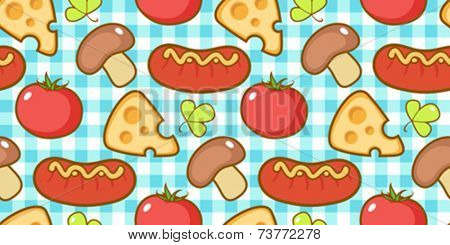 Snacks pattern with plaid.