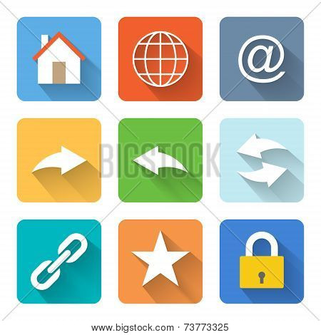 Flat Internet Browsing Icons. Vector Illustration