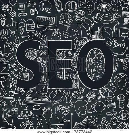 Doodle seo icons in word. Sketchy chalkboard