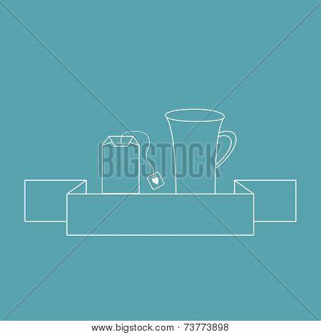 Contour teabag and teacup. Tea set in flat design style.