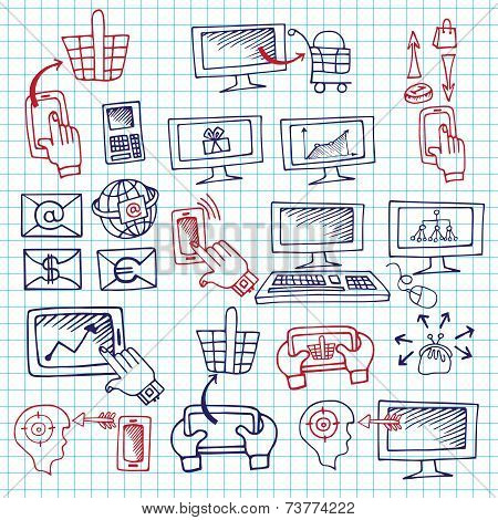 Doodle scheme seo communication with icons.Notepaper