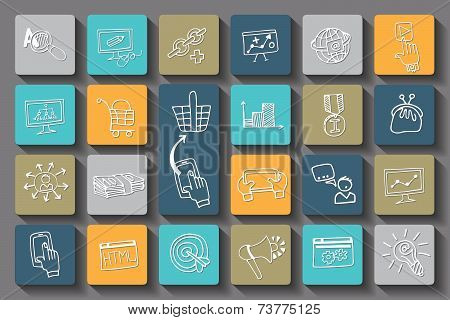 Doodle business seo long shadow icons .Outline sketchy